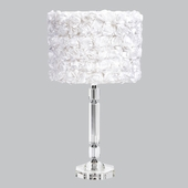 Crystal Slender Lamp with White Rose Garden Drum Shade