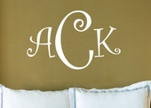 Curly Font Monogram Custom Personalized Wall Decal