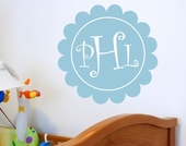 Curlz Scalloped Monogram Custom Personalized Wall Decal