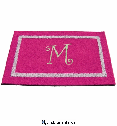 Custom Rectangle Double Border Rug with Monogram