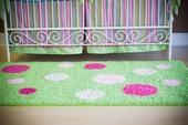 Custom Rectangle Polka Dot Rug with Monogram