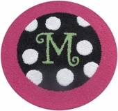 Custom Round Polka Dot Border Rug with Monogram