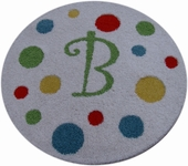 Custom Round Polka Dot Rug with Monogram