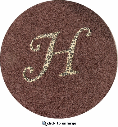 Custom Round Rug with Animal Print Monogram