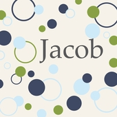 Dots and Circles Green Blue Personalized Canvas Wall Art