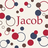 Dots and Circles Red Personalized Canvas Wall Art