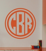 Double Circle Monogram Custom Personalized Wall Decal