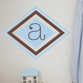 Double Diamond Initial Custom Personalized Wall Decal