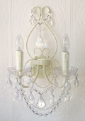 Double-Light Antique White Crystal Wall Sconce