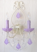 Double-Light Antique White Wall Sconce with Opal Lavender Crystals