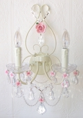 Double-Light Antique White Wall Sconce with Pink Porcelain Roses