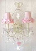 Double-Light Antique White Wall Sconce with Pink Rose Shades