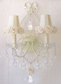 Double-Light Ivory Wall Sconce with Cream Rose Shades