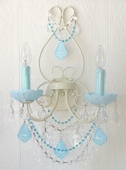 Double-Light Ivory Wall Sconce with Opal Aqua Blue Crystals