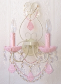 Double-Light Ivory Wall Sconce with Opal Pink Crystals
