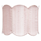 Double Scalloped Pink & White Stripe Large Drum Lamp Shade