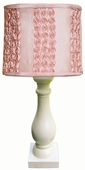 Dozen Roses Shade with Eggshell Column Lamp