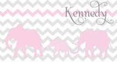 Elephant Chevron Pink Personalized Canvas Wall Art