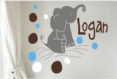 Elephant Dots Custom Personalized Wall Decal
