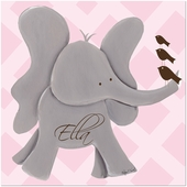 Ellie Elephant on Pink Gallery Wrapped Stretched Giclee Canvas