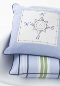 Embroidered Compass Throw Pillow