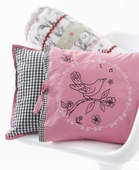 Embroidered Nightingale Throw Pillow