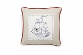 Embroidered Pirate Ship Throw Pillow