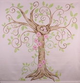 Enchanted Tree Hand Painted Canvas Mural
