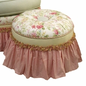English Bouquet Adult Princess Round Stationary Ottoman