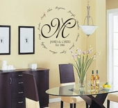 Family Encircling Love Monogram Custom Personalized Wall Decal