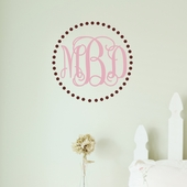 Fancy Dot Interlock Monogram Custom Personalized Wall Decal