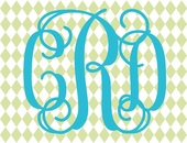 Fancy Interlock Diamond Monogram Personalized Canvas Wall Art