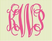 Fancy Interlock Striped Monogram Personalized Canvas Wall Art