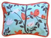 Feather Your Nest in Aqua Throw Pillow