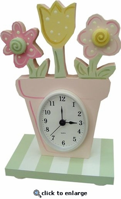 Flower Pot Table Clock