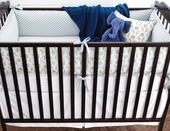 Fog Olivier Plump Crib Bumper with Sky Gilles Piping