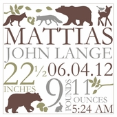 Forest Critters Birth Announcement Canvas Wall Art