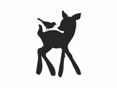 Forest Critters Chalkboard Deer & Bird Wall Decal