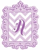 Framed Chevron Monogram Wall Decal in Lavender