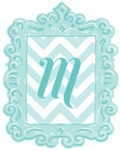 Framed Chevron Monogram Wall Decal in Turquoise