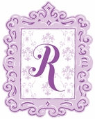 Framed Damask Monogram Wall Decal in Lavender