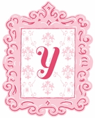 Framed Damask Monogram Wall Decal in Pink