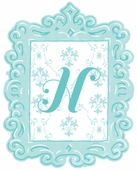 Framed Damask Monogram Wall Decal in Turquoise