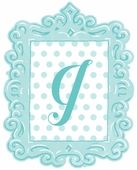 Framed Dotted Monogram Wall Decal in Turquoise