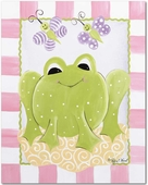 Frog & Butterflies Gallery Wrapped Stretched Giclee Canvas