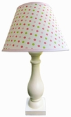 Frog Spots Pink Shade with Eggshell Column Lamp