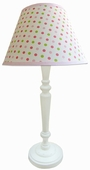 Frog Spots Pink Shade with White Spindle Lamp