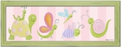 Garden Party on Pink Stripes Framed Giclee Print