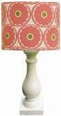 Gerber Daisy Shade with Eggshell Column Lamp