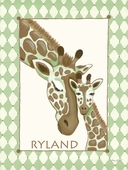 Giraffe Family in Green Canvas Wall Art